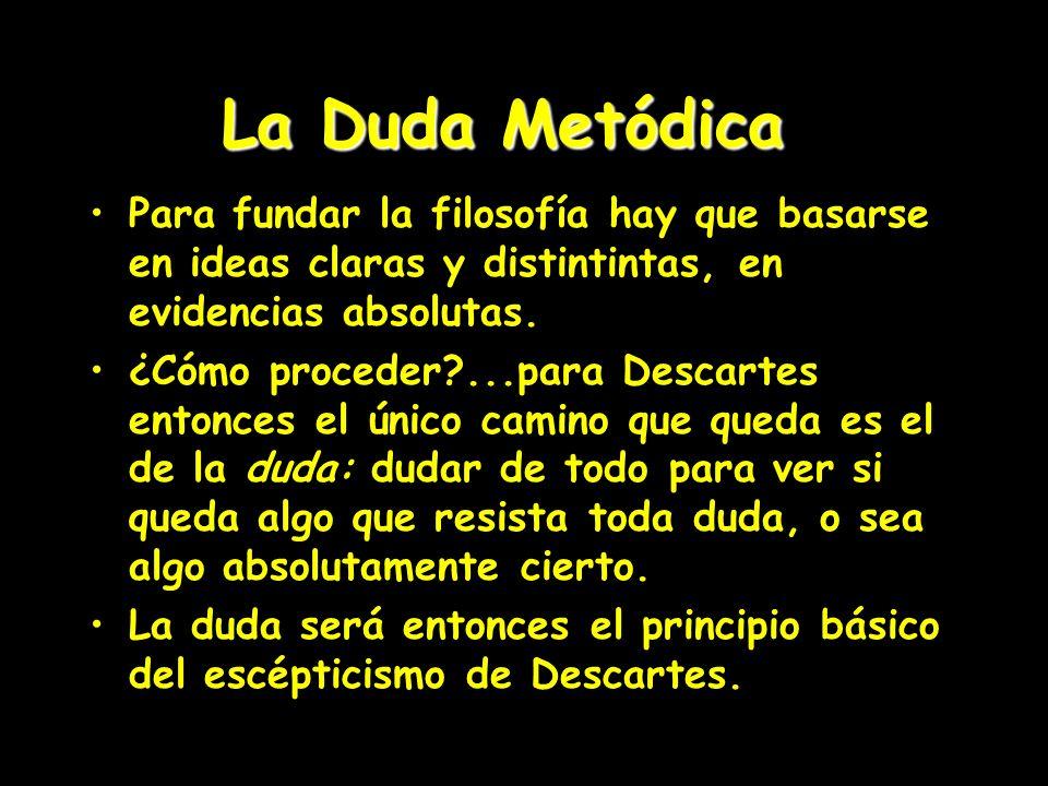 La Duda Metódica Para fundar la filosofía hay que basarse en ideas claras y distintintas, en evidencias absolutas.