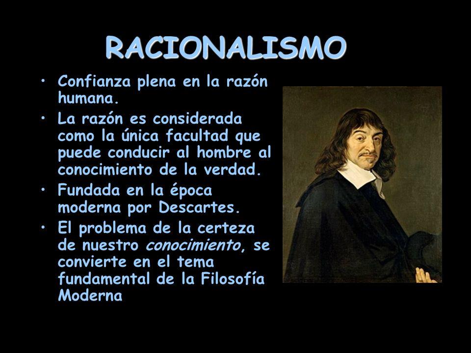 RACIONALISMO Confianza plena en la razón humana.