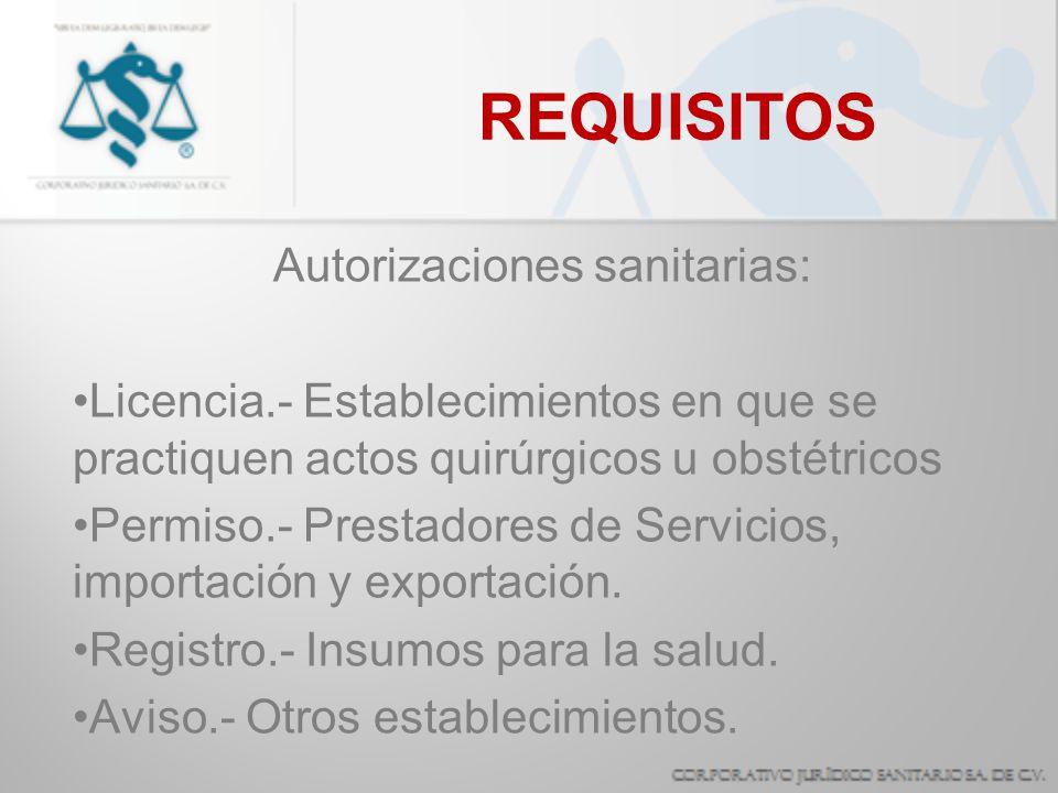 Autorizaciones sanitarias: