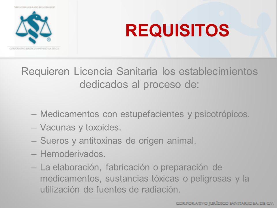 REQUISITOS Requieren Licencia Sanitaria los establecimientos dedicados al proceso de: Medicamentos con estupefacientes y psicotrópicos.