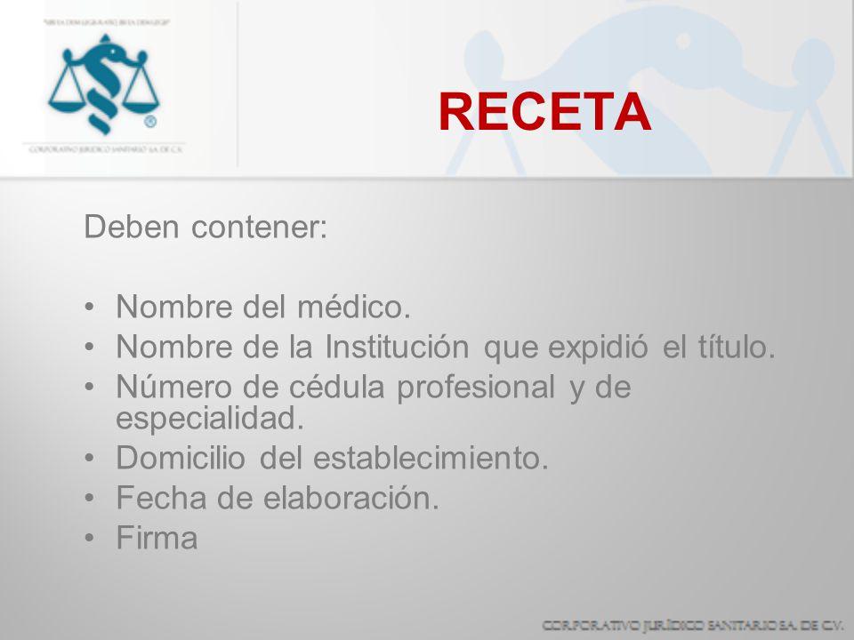 RECETA Deben contener: Nombre del médico.