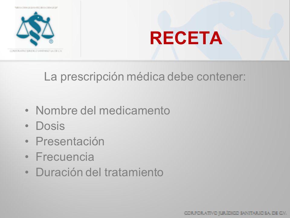 La prescripción médica debe contener: