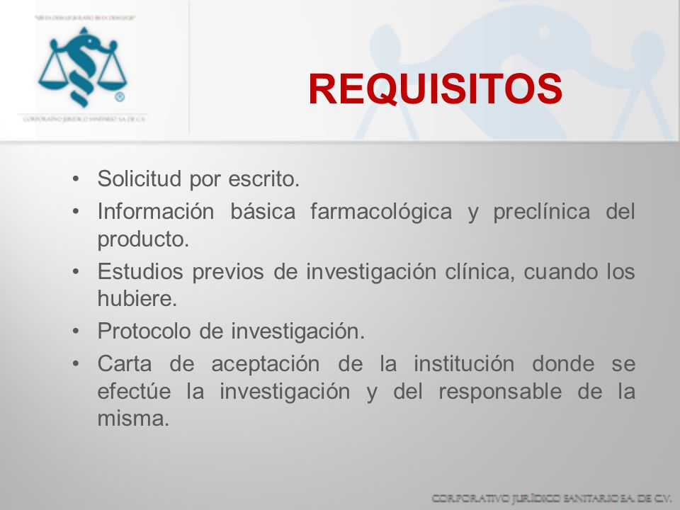 REQUISITOS Solicitud por escrito.