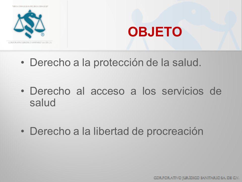 OBJETO Derecho a la protección de la salud.