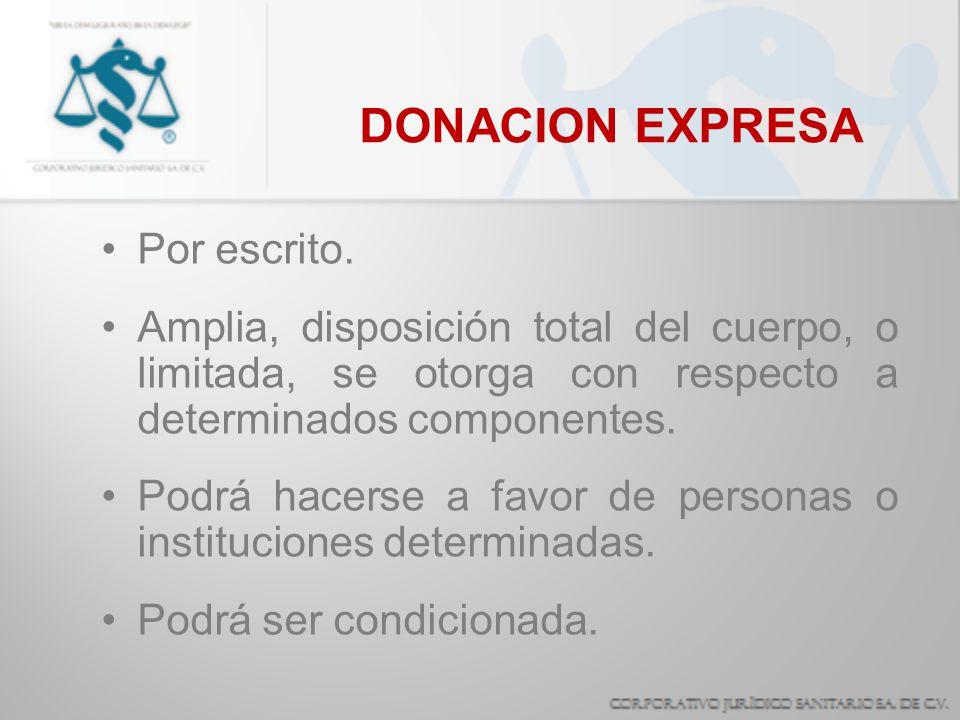 DONACION EXPRESA Por escrito.