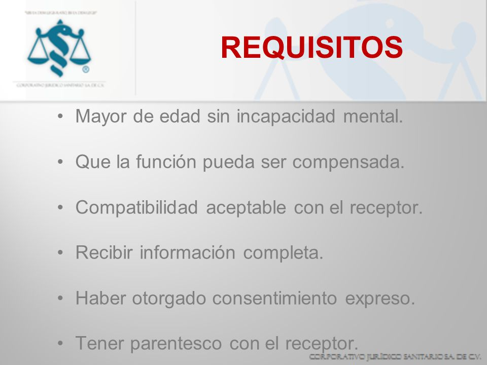 REQUISITOS Mayor de edad sin incapacidad mental.