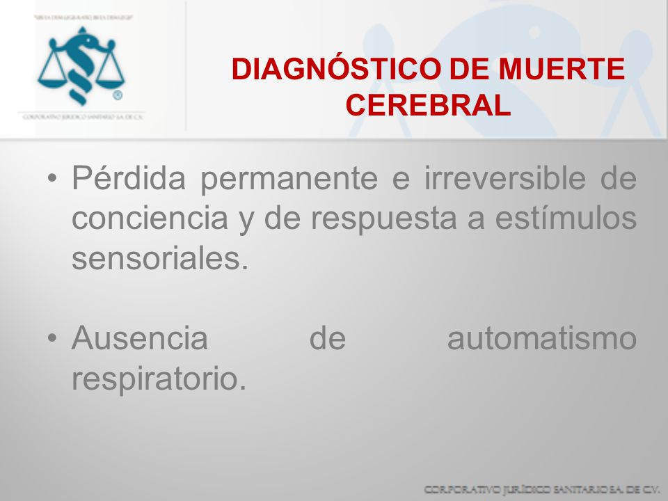 DIAGNÓSTICO DE MUERTE CEREBRAL