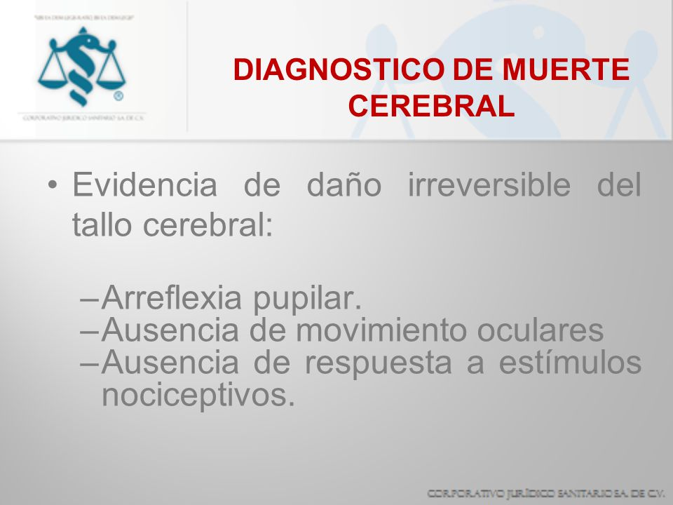 DIAGNOSTICO DE MUERTE CEREBRAL