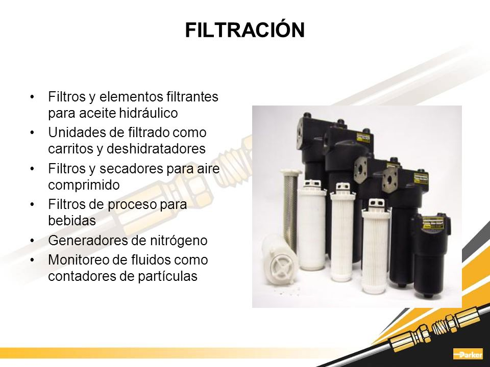 FILTRACIÓN Filtros y elementos filtrantes para aceite hidráulico