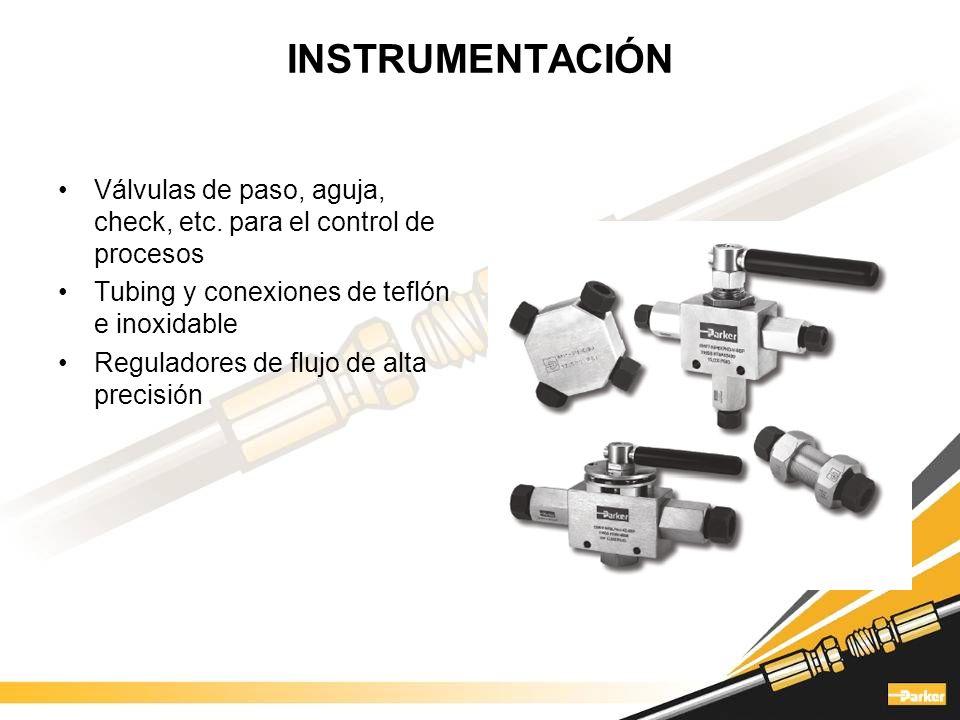 INSTRUMENTACIÓN Válvulas de paso, aguja, check, etc. para el control de procesos. Tubing y conexiones de teflón e inoxidable.
