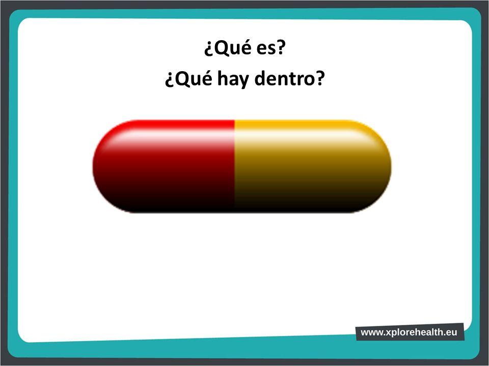 ¿Qué es ¿Qué hay dentro Con una cápsula que simula un medicamento de tamaño grande, preguntar al alumnado: