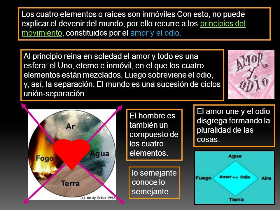 Los cuatro elementos o raíces son inmóviles Con esto, no puede explicar el devenir del mundo, por ello recurre a los principios del movimiento, constituidos por el amor y el odio.
