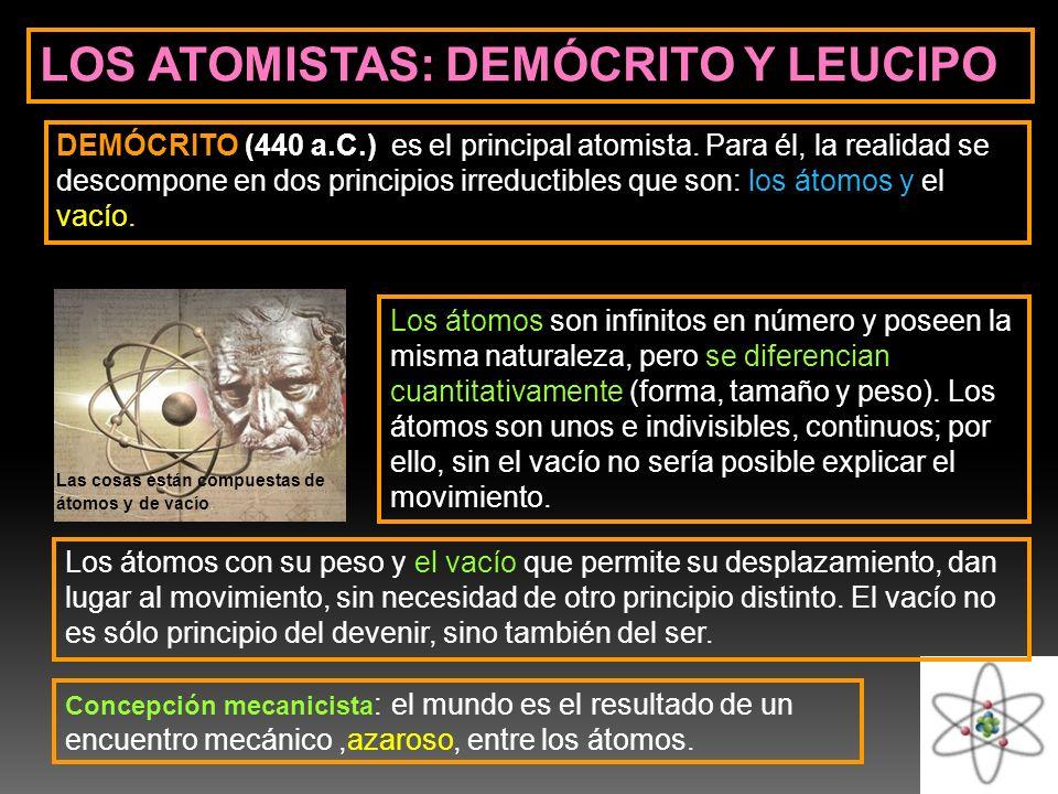 LOS ATOMISTAS: DEMÓCRITO Y LEUCIPO