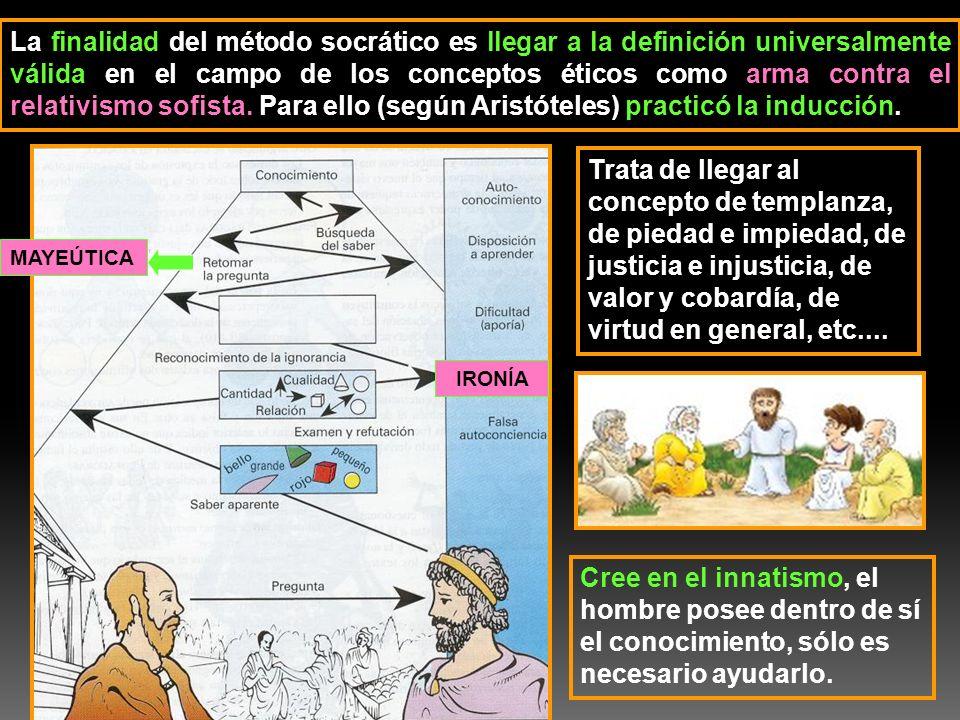 La finalidad del método socrático es llegar a la definición universalmente válida en el campo de los conceptos éticos como arma contra el relativismo sofista. Para ello (según Aristóteles) practicó la inducción.