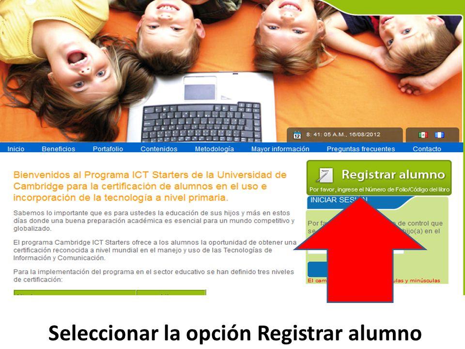 Seleccionar la opción Registrar alumno