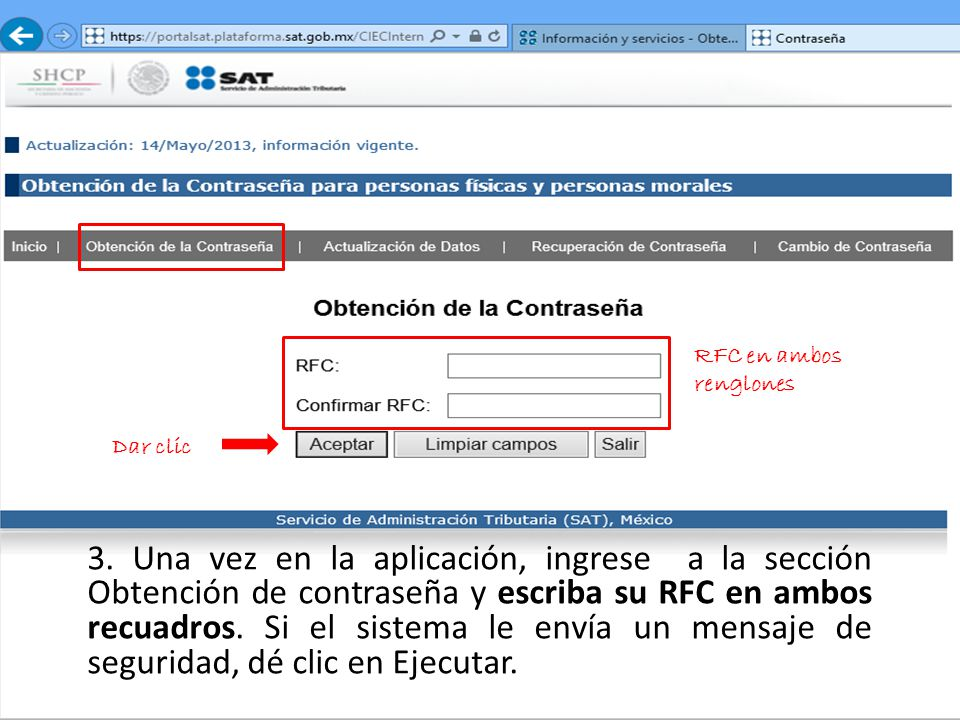 RFC en ambos renglones Dar clic.