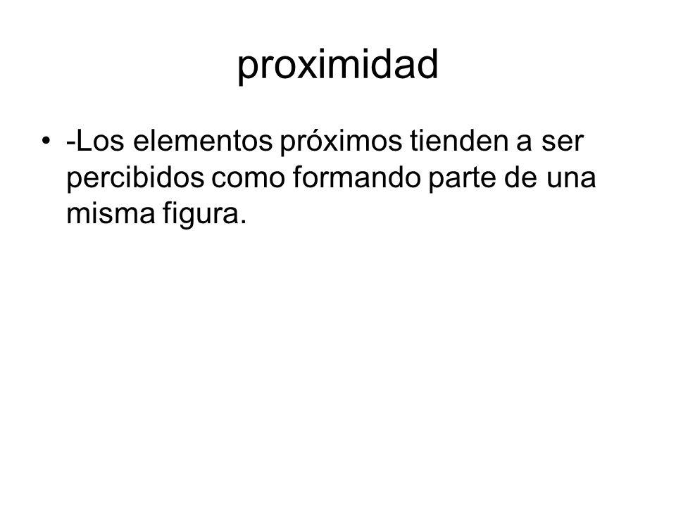 proximidad -Los elementos próximos tienden a ser percibidos como formando parte de una misma figura.