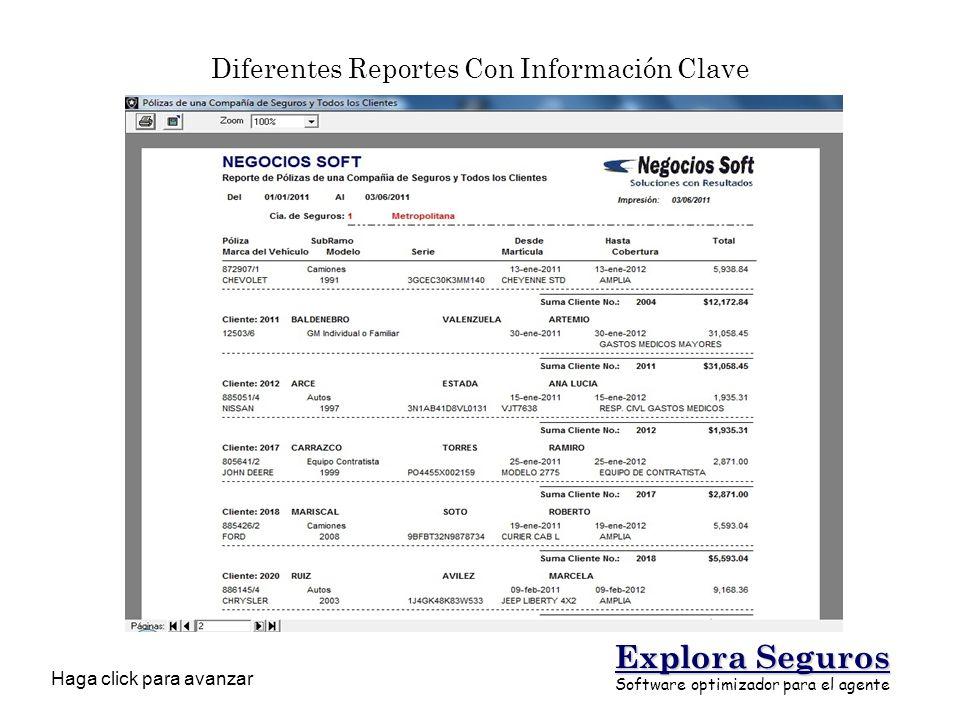 Diferentes Reportes Con Información Clave