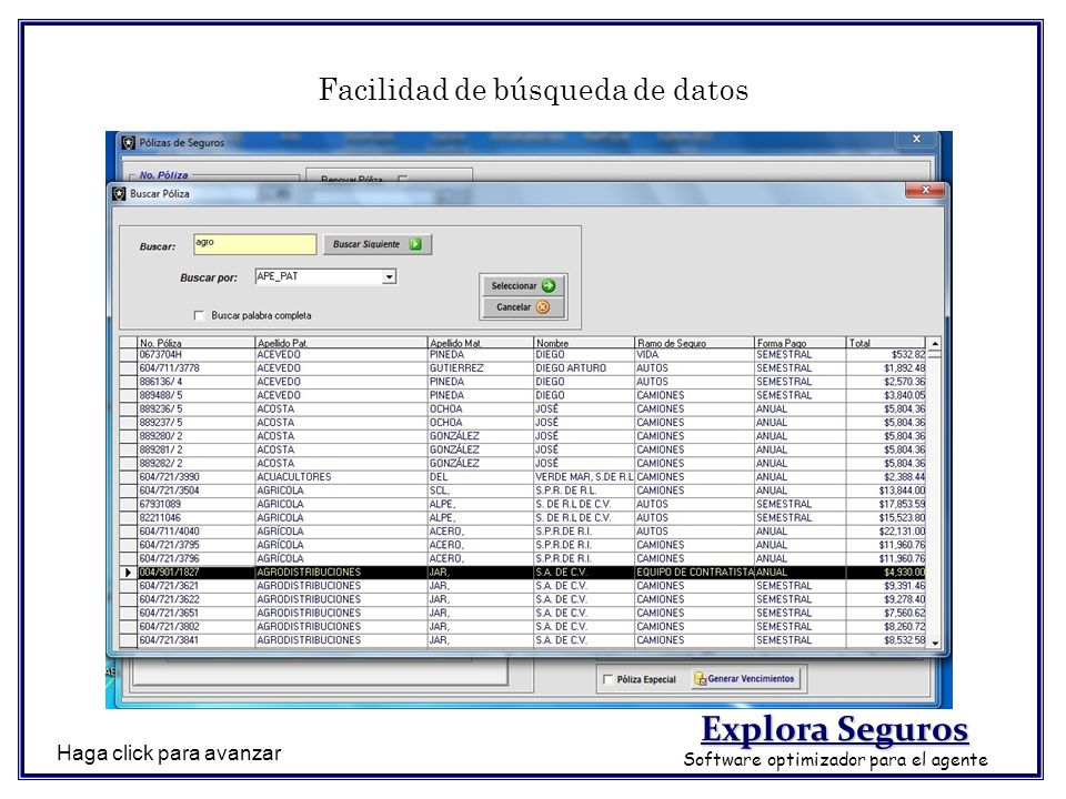 Facilidad de búsqueda de datos