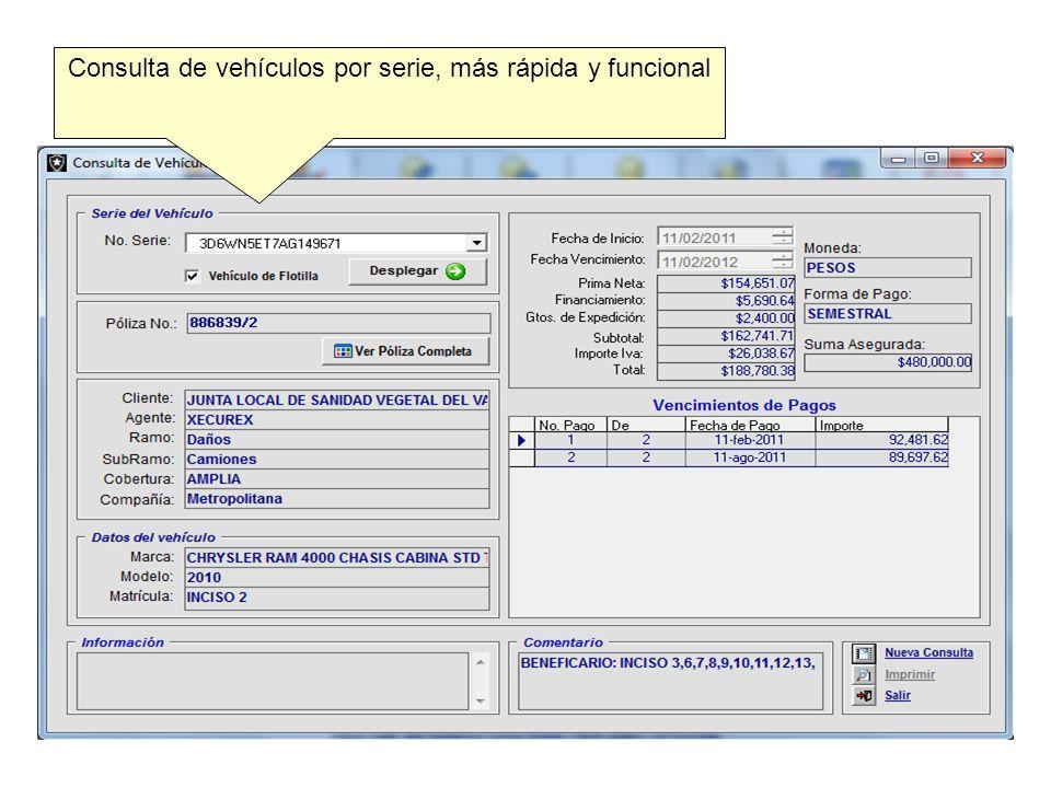 Consulta de vehículos por serie, más rápida y funcional