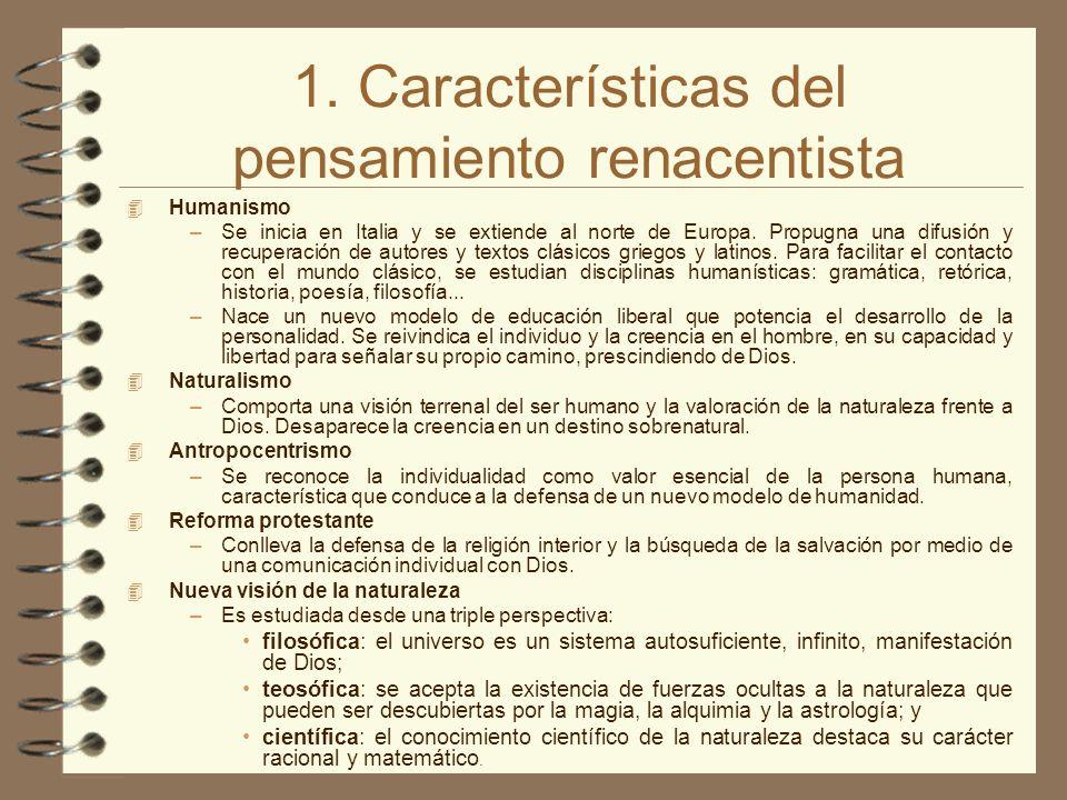1. Características del pensamiento renacentista