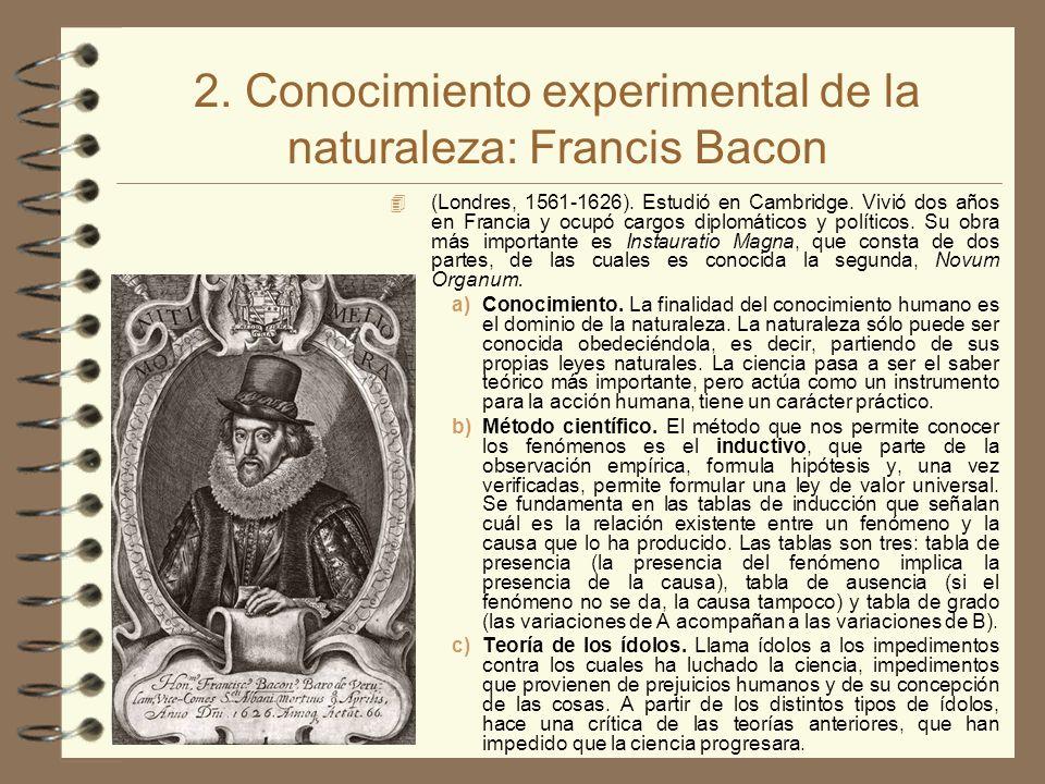 2. Conocimiento experimental de la naturaleza: Francis Bacon