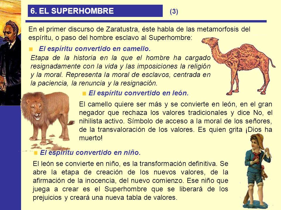 6. EL SUPERHOMBRE(3) En el primer discurso de Zaratustra, éste habla de las metamorfosis del espíritu, o paso del hombre esclavo al Superhombre: