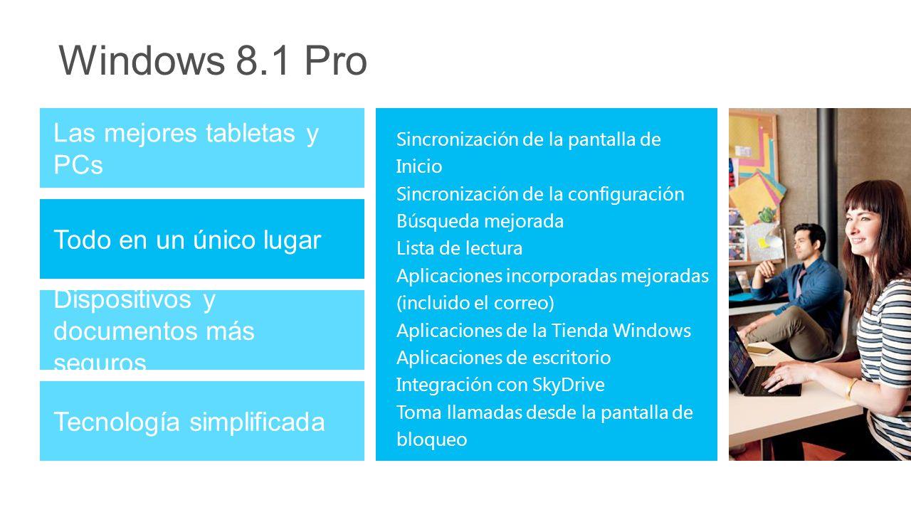 Windows 8.1 Pro Las mejores tabletas y PCs Todo en un único lugar