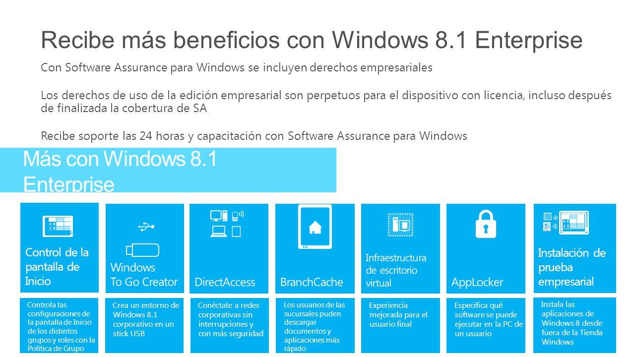 Recibe más beneficios con Windows 8.1 Enterprise