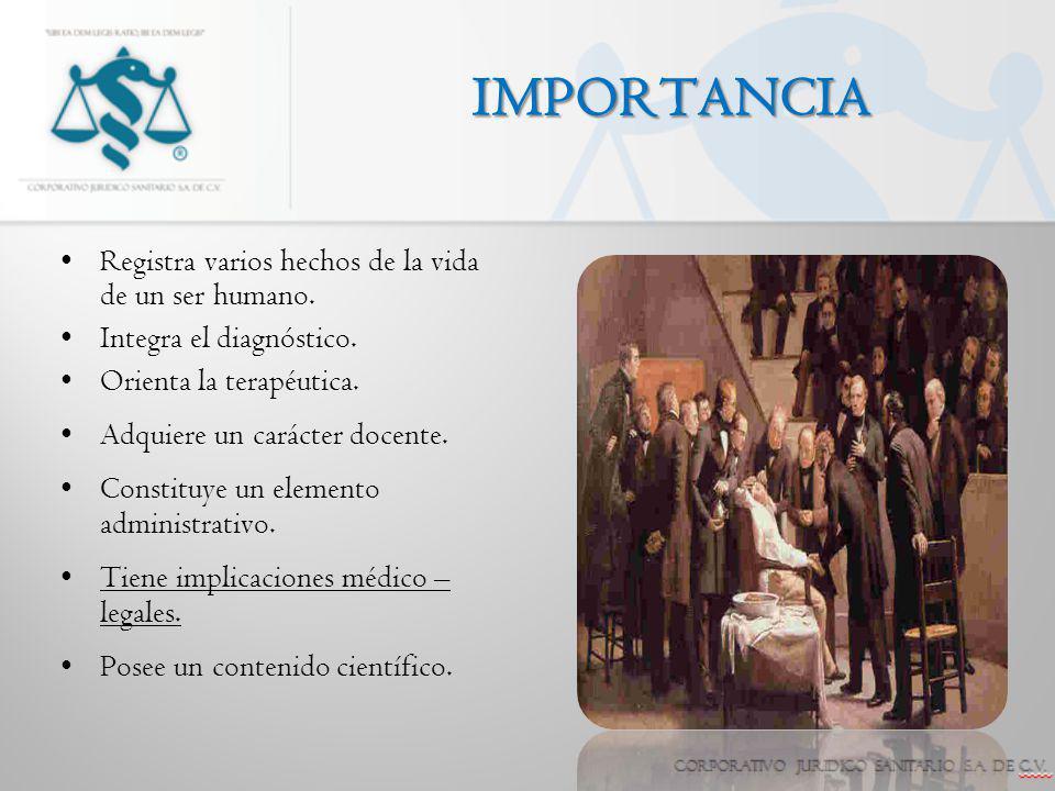 IMPORTANCIA Registra varios hechos de la vida de un ser humano.