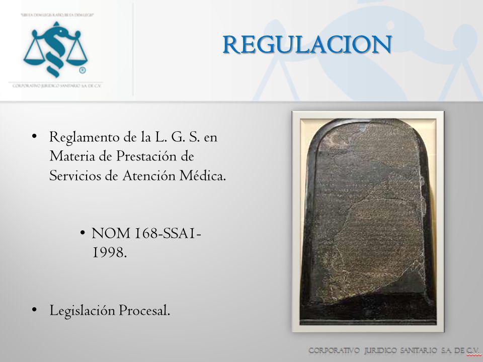 REGULACION Reglamento de la L. G. S. en Materia de Prestación de Servicios de Atención Médica. NOM 168-SSA1-1998.