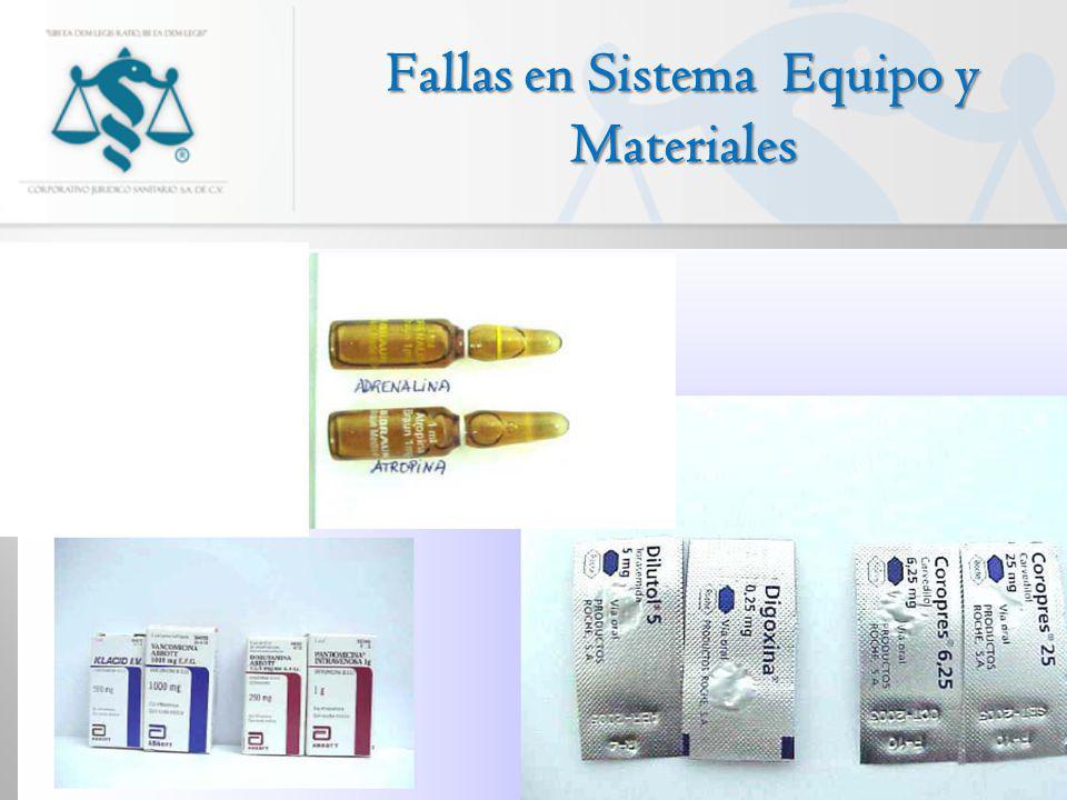 Fallas en Sistema Equipo y Materiales