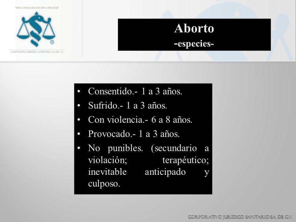Aborto -especies- Consentido.- 1 a 3 años. Sufrido.- 1 a 3 años.