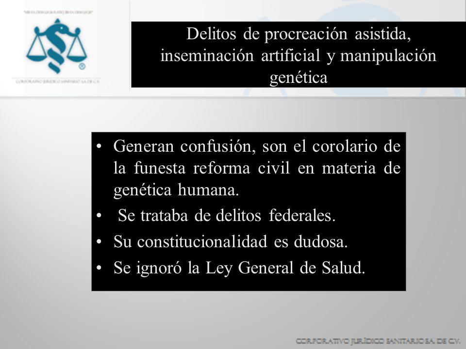 Delitos de procreación asistida, inseminación artificial y manipulación genética