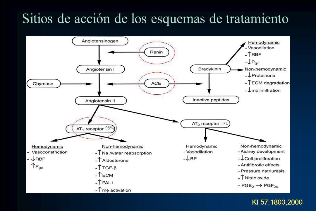 Sitios de acción de los esquemas de tratamiento