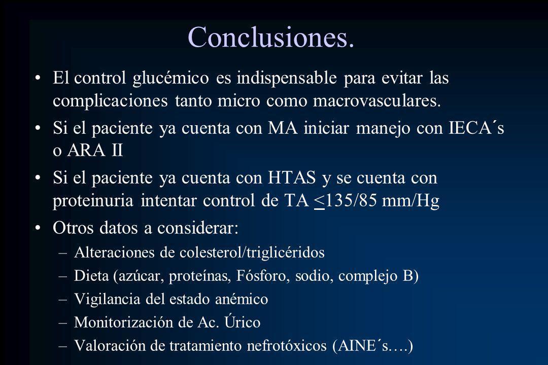 Conclusiones. El control glucémico es indispensable para evitar las complicaciones tanto micro como macrovasculares.