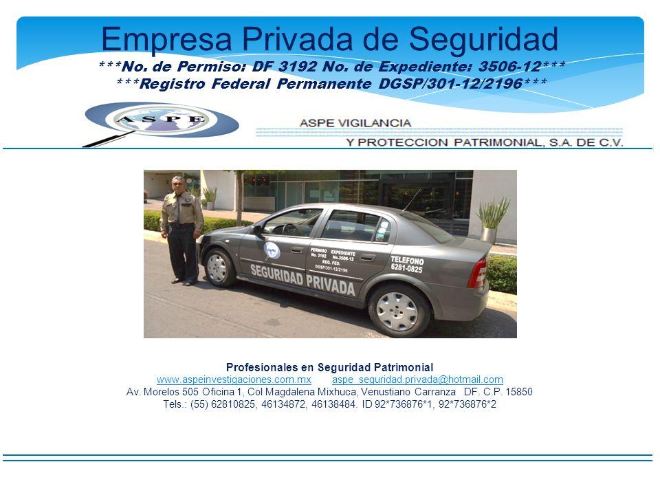 ***Registro Federal Permanente DGSP/301-12/2196***