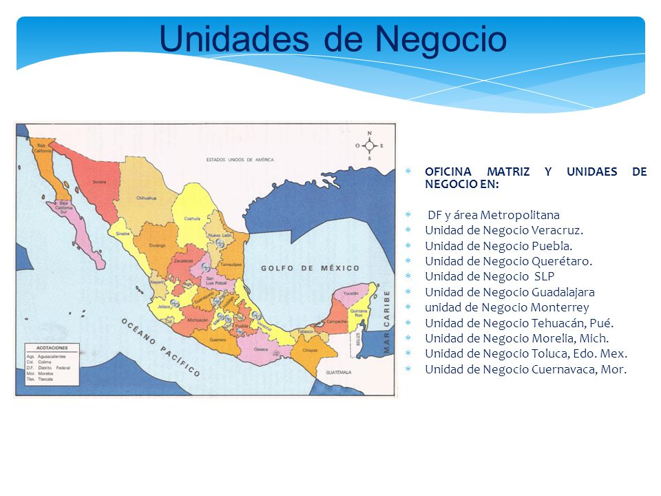 Unidades de Negocio OFICINA MATRIZ Y UNIDAES DE NEGOCIO EN: