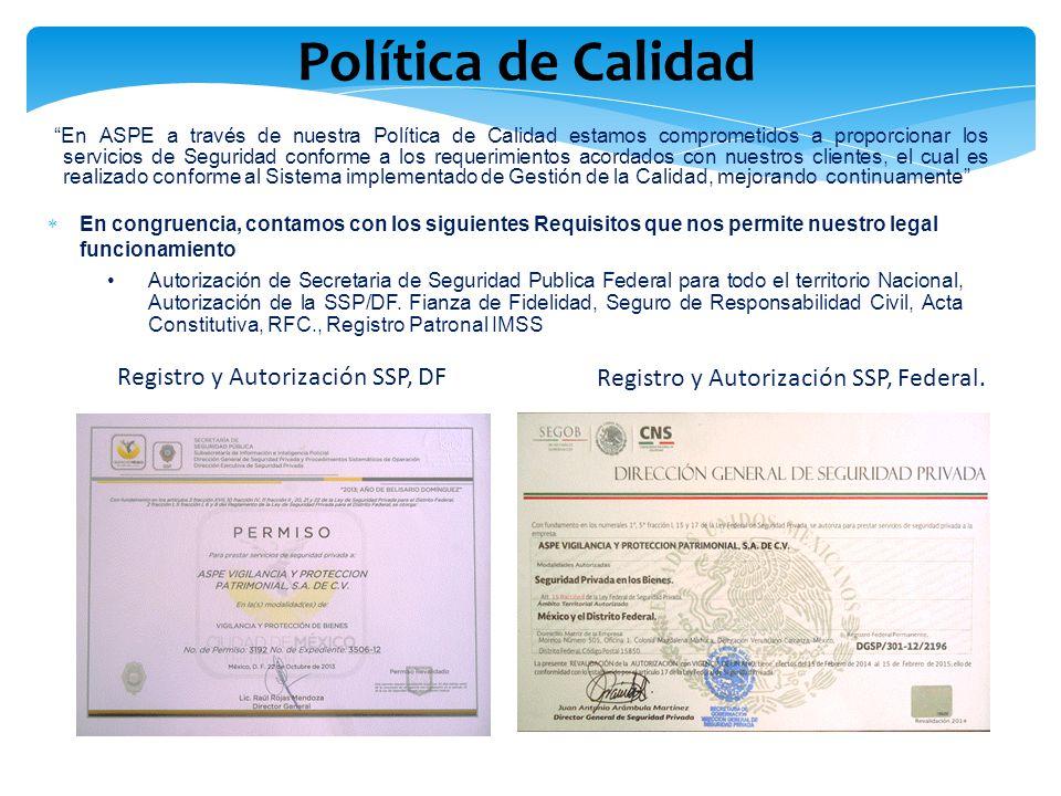 Política de Calidad Registro y Autorización SSP, DF