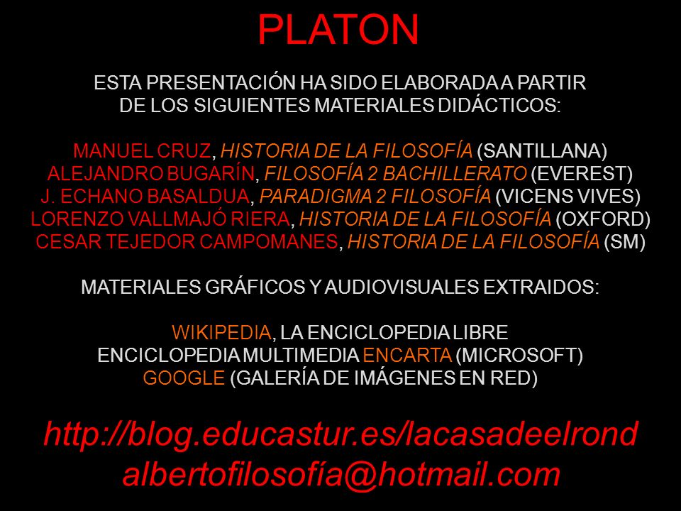 PLATON http://blog.educastur.es/lacasadeelrond