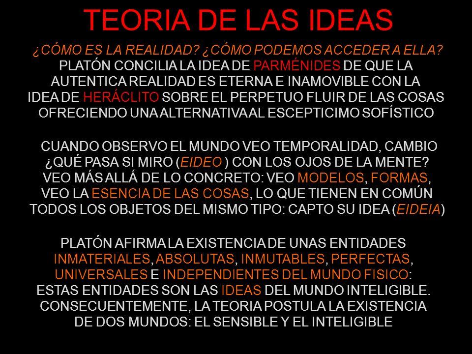 TEORIA DE LAS IDEAS ¿CÓMO ES LA REALIDAD ¿CÓMO PODEMOS ACCEDER A ELLA PLATÓN CONCILIA LA IDEA DE PARMÉNIDES DE QUE LA.