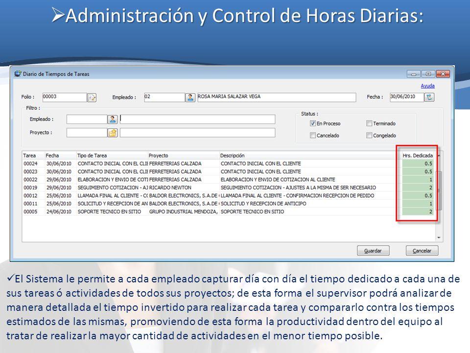 Administración y Control de Horas Diarias:
