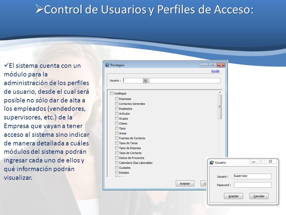 Control de Usuarios y Perfiles de Acceso: