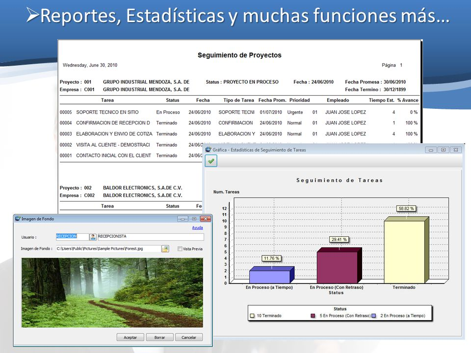 Reportes, Estadísticas y muchas funciones más…