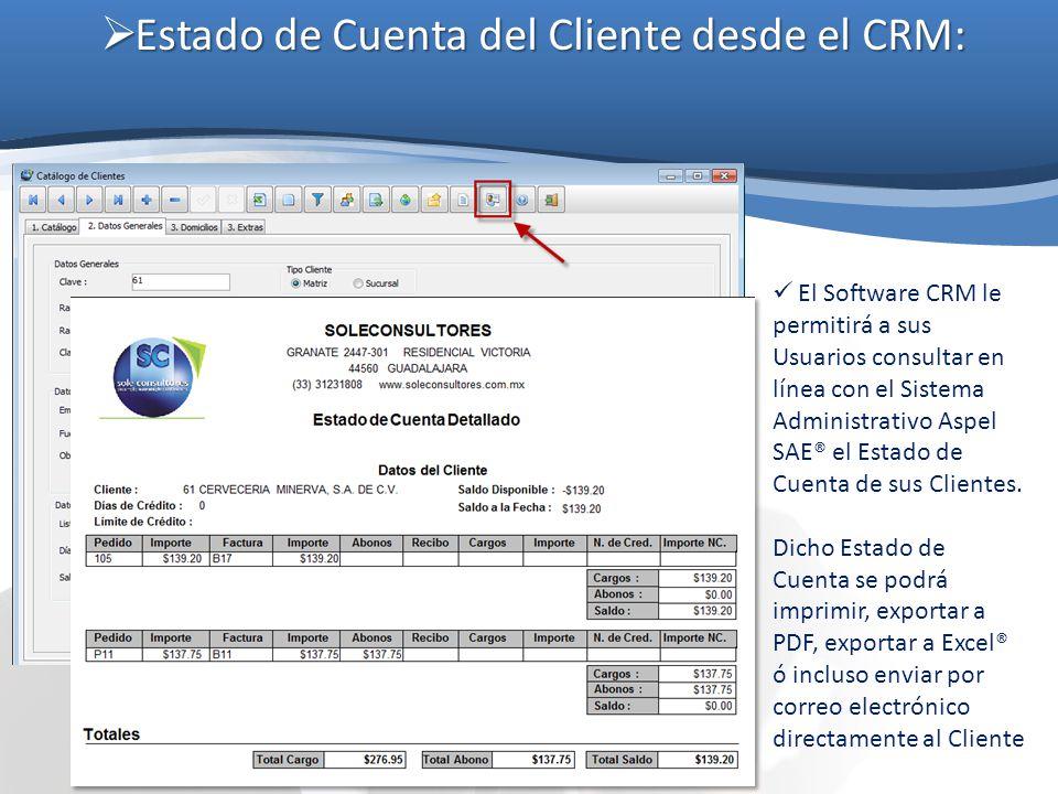 Estado de Cuenta del Cliente desde el CRM: