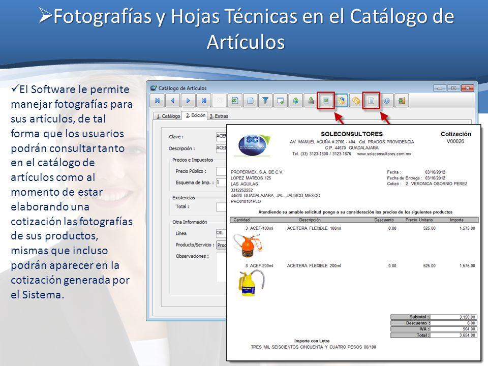 Fotografías y Hojas Técnicas en el Catálogo de Artículos