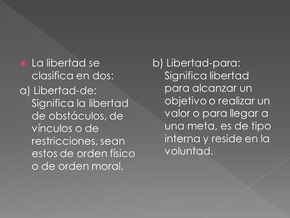 La libertad se clasifica en dos: