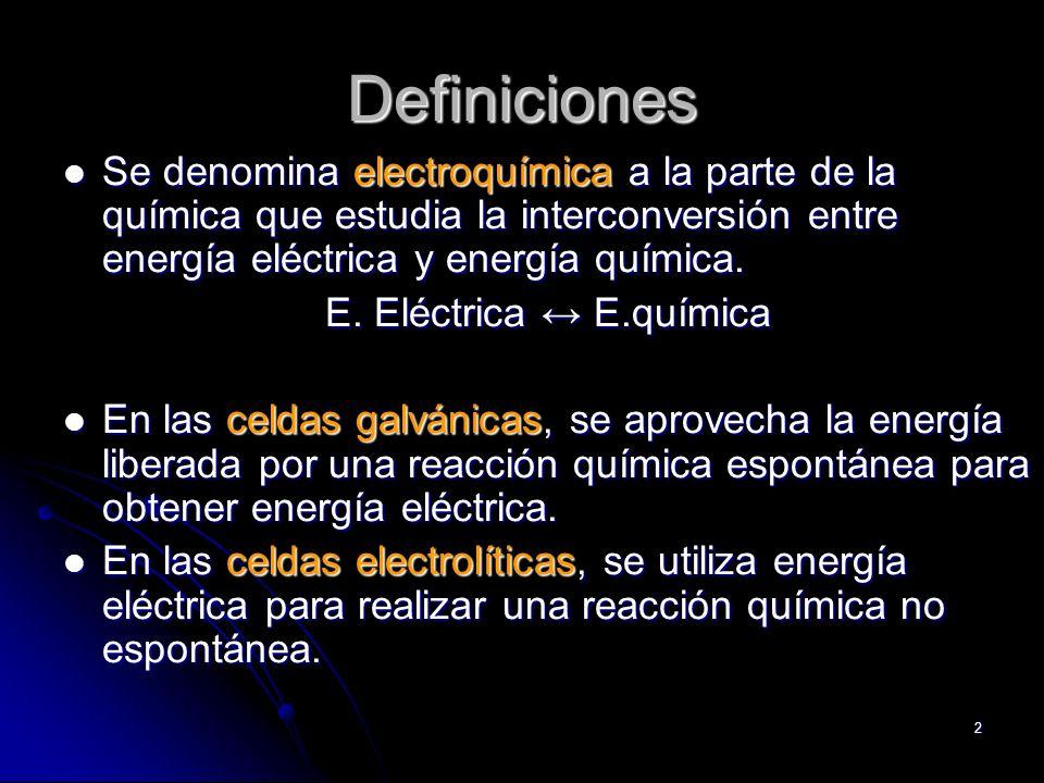 Definiciones Se denomina electroquímica a la parte de la química que estudia la interconversión entre energía eléctrica y energía química.