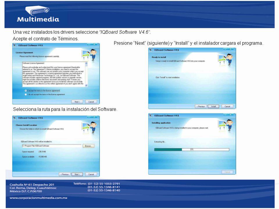 Una vez instalados los drivers seleccione IQBoard Software V4.6 .