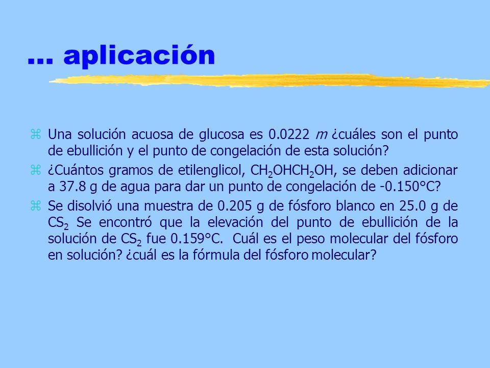 ... aplicación Una solución acuosa de glucosa es 0.0222 m ¿cuáles son el punto de ebullición y el punto de congelación de esta solución
